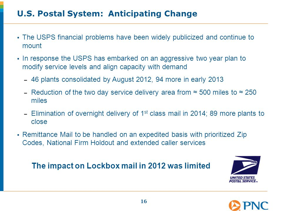  The USPS financial problems have been widely publicized and continue to mount  In response the USPS has embarked on an aggressive two year plan to