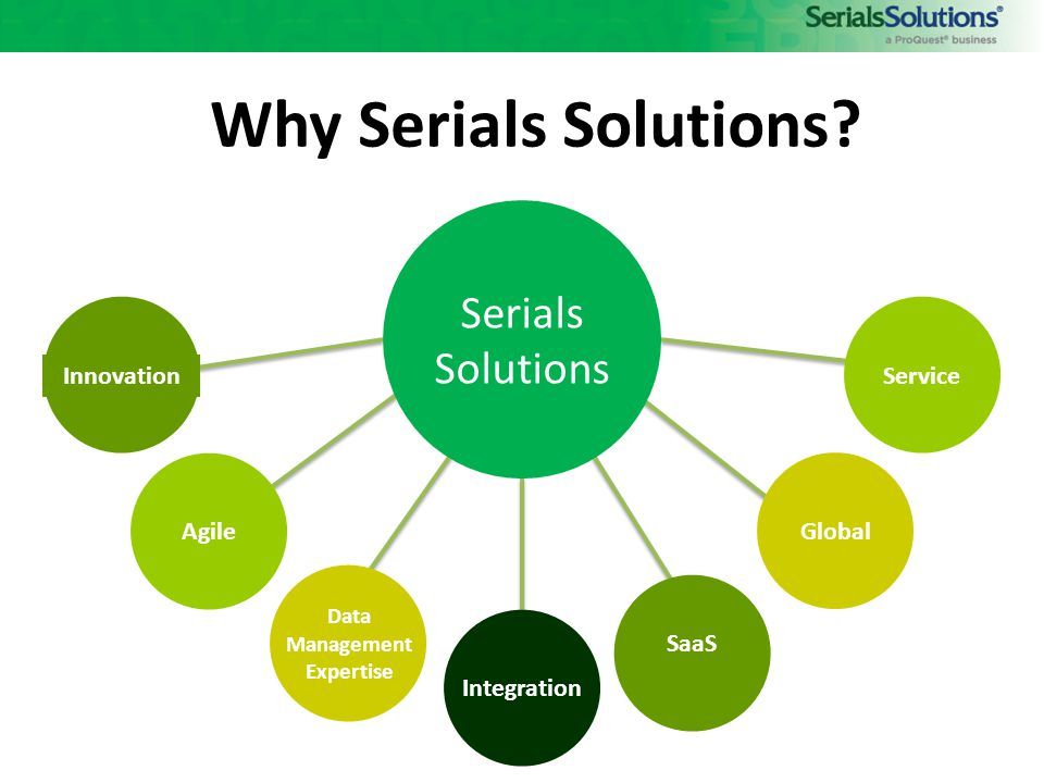 Software makes it possible, but the knowledgebase makes it work. Peter McCracken Co-Founder, Serials Solutions