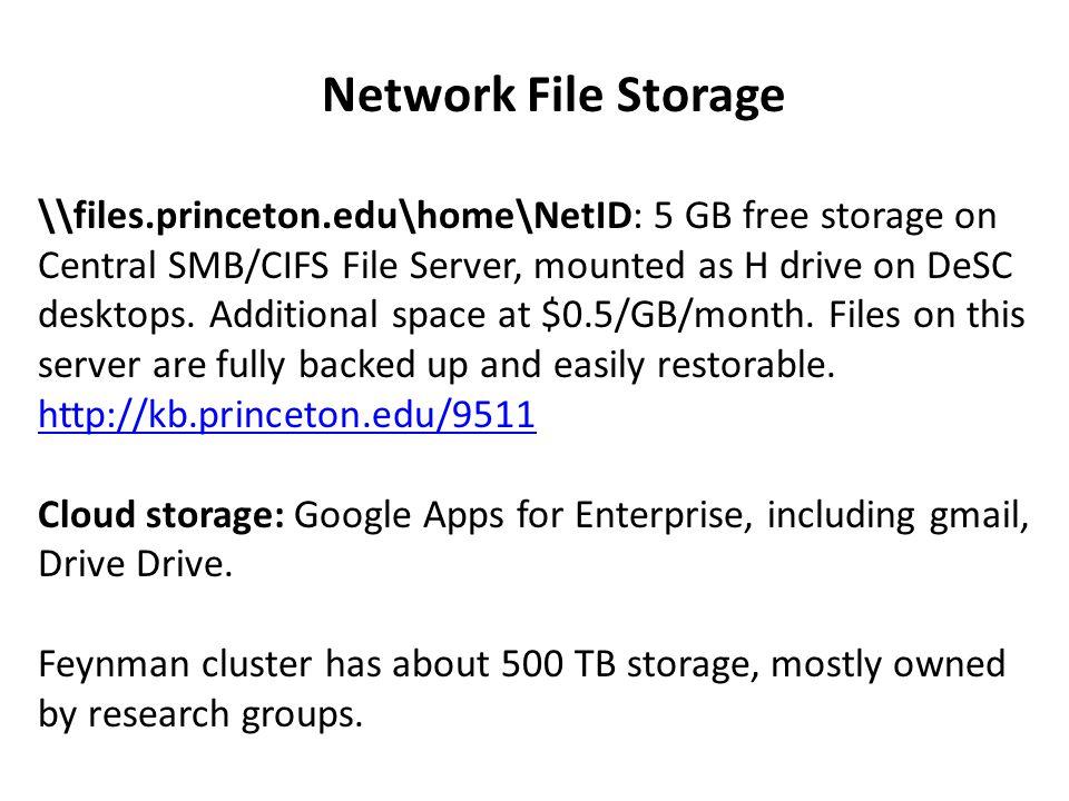 Network File Storage \\files.princeton.edu\home\NetID: 5 GB free storage on Central SMB/CIFS File Server, mounted as H drive on DeSC desktops.