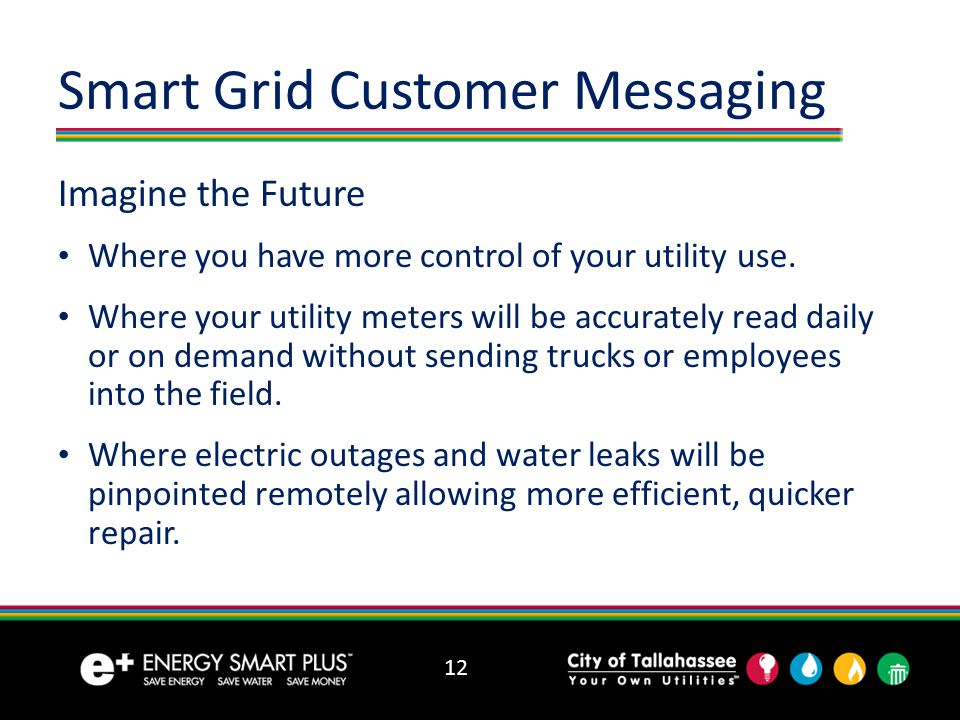 12 Smart Grid Customer Messaging Imagine the Future Where you have more control of your utility use.