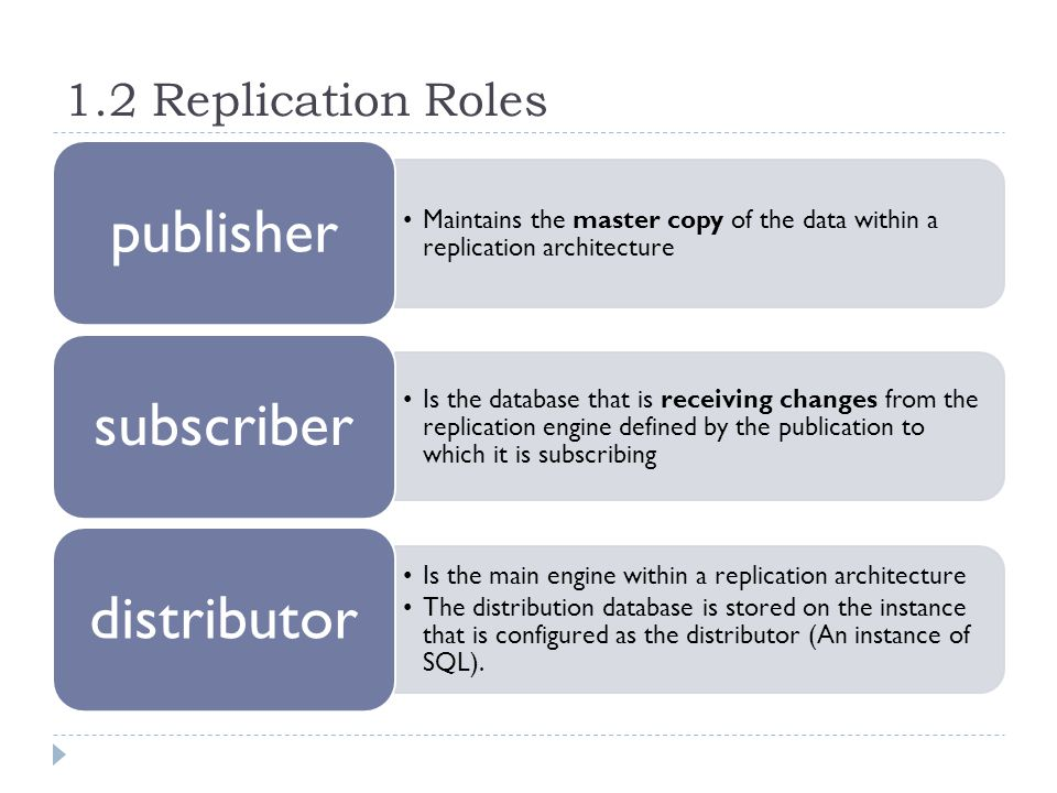 1.2 Replication Roles Maintains the master copy of the data within a replication architecture publisher Is the database that is receiving changes from the replication engine defined by the publication to which it is subscribing subscriber Is the main engine within a replication architecture The distribution database is stored on the instance that is configured as the distributor (An instance of SQL).