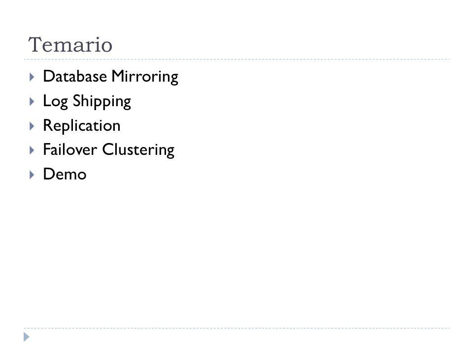 Temario  Database Mirroring  Log Shipping  Replication  Failover Clustering  Demo