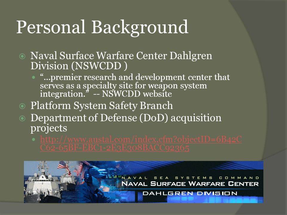 System Safety Terms and Concepts  System – a composite, at any level of complexity, of personnel, procedures, materials, tools, equipment, facilities, and software… used together in the intended operational or support environment to perform a given task or achieve a specific purpose. – MIL-STD 882C  Safety – freedom from those conditions that can cause death, injury, occupational illness, or damage to or loss of equipment or property, or damage to the environment. – MIL-STD 882C