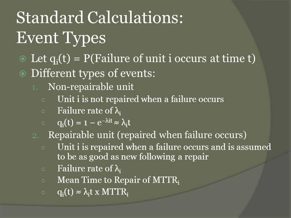 Standard Calculations: Event Types 3.