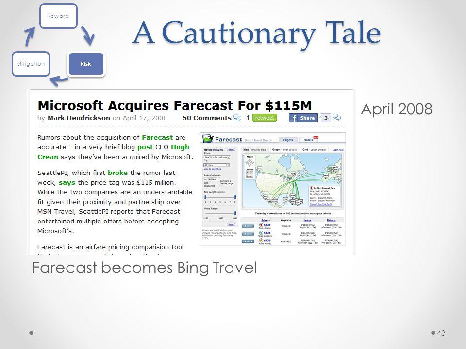 A Cautionary Tale Farecast becomes Bing Travel 43 April 2008 Reward Risk Mitigation