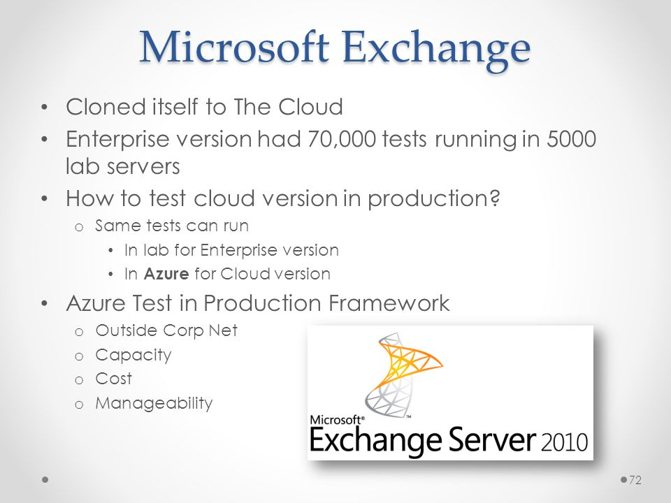 Microsoft Exchange Cloned itself to The Cloud Enterprise version had 70,000 tests running in 5000 lab servers How to test cloud version in production.