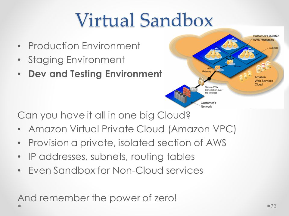 Virtual Sandbox Production Environment Staging Environment Dev and Testing Environment Can you have it all in one big Cloud.