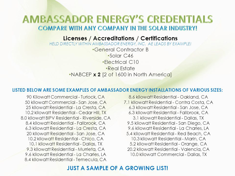 Licenses / Accreditations / Certifications HELD DIRECTLY WITHIN AMBASSADOR ENERGY, INC. AE LEADS BY EXAMPLE! General Contractor B Solar C46 Electrical