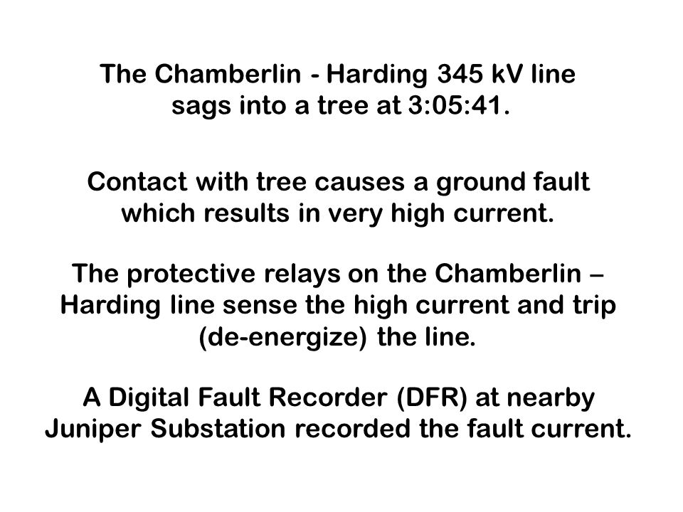 The Chamberlin - Harding 345 kV line sags into a tree at 3:05:41.