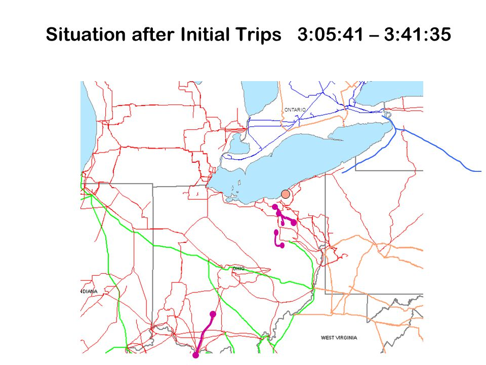 Situation after Initial Trips 3:05:41 – 3:41:35 ONTARIO
