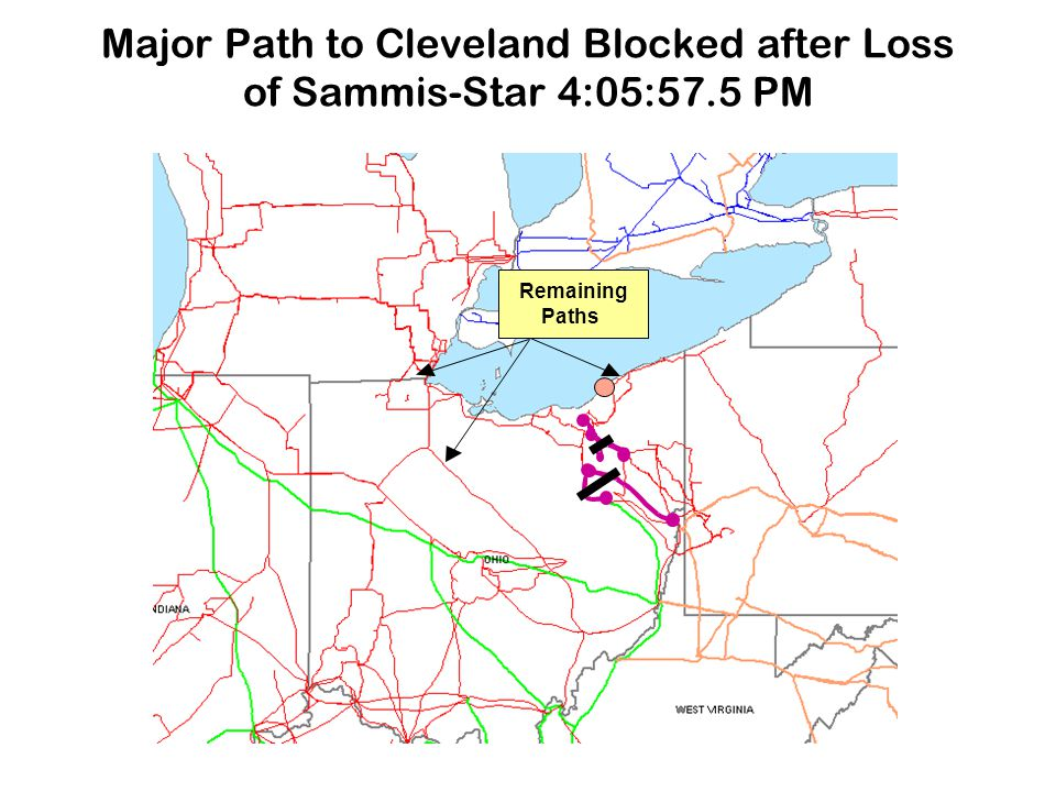 Major Path to Cleveland Blocked after Loss of Sammis-Star 4:05:57.5 PM Remaining Paths