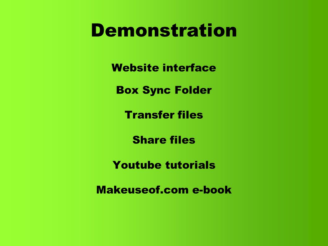 Demonstration Website interface Box Sync Folder Transfer files Share files Youtube tutorials Makeuseof.com e-book