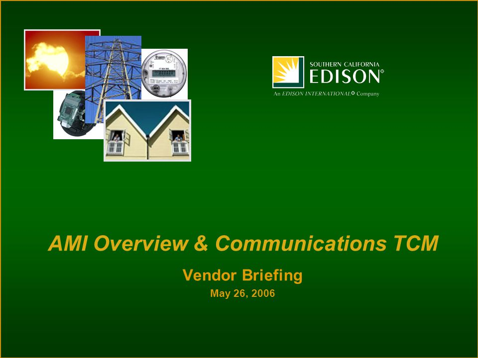 Vendor Briefing May 26, 2006 AMI Overview & Communications TCM