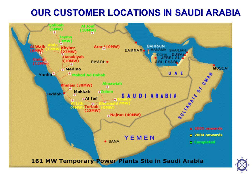OUR CUSTOMER LOCATIONS IN SAUDI ARABIA