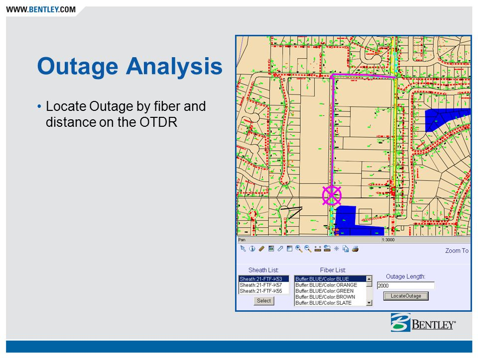 Outage Analysis Locate Outage by fiber and distance on the OTDR