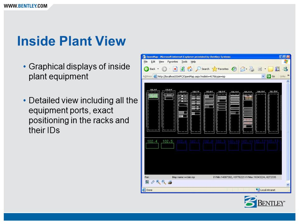 Inside Plant View Graphical displays of inside plant equipment Detailed view including all the equipment ports, exact positioning in the racks and their IDs