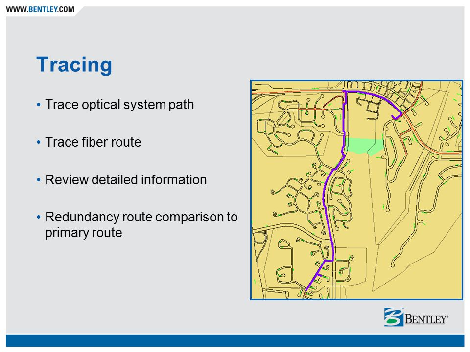 Tracing Trace optical system path Trace fiber route Review detailed information Redundancy route comparison to primary route