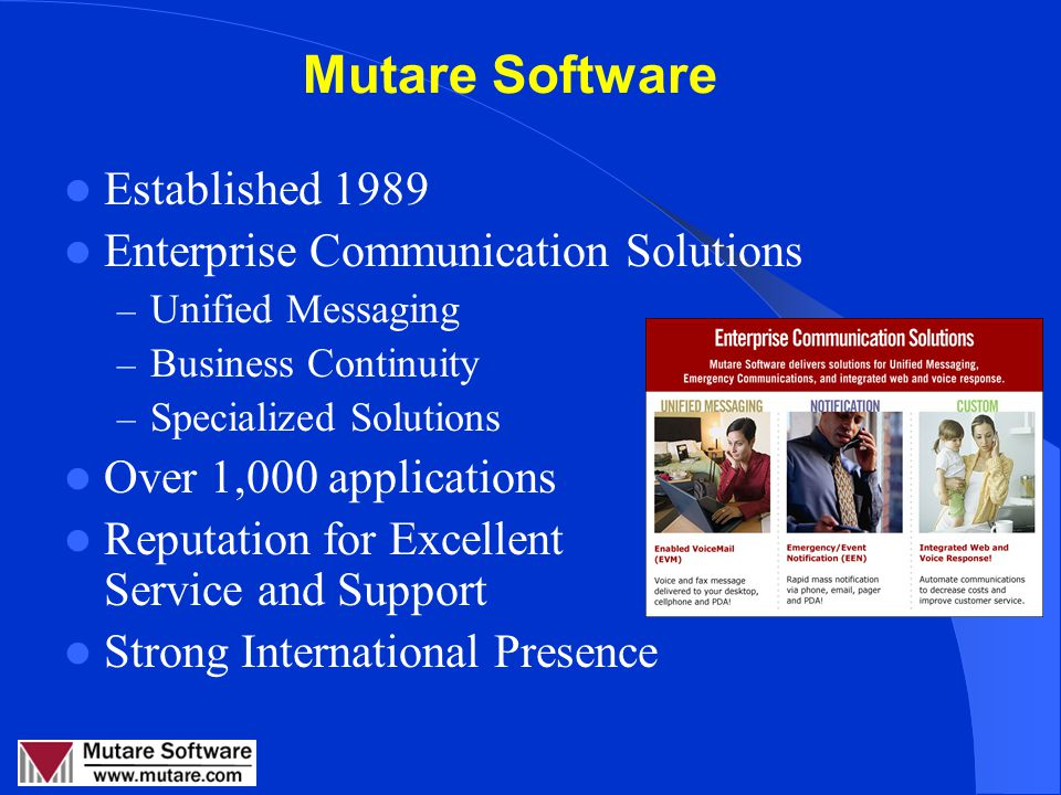 Emergency & Event Communications RMAUG August 8, 2007 Linda Collins, Mutare Software