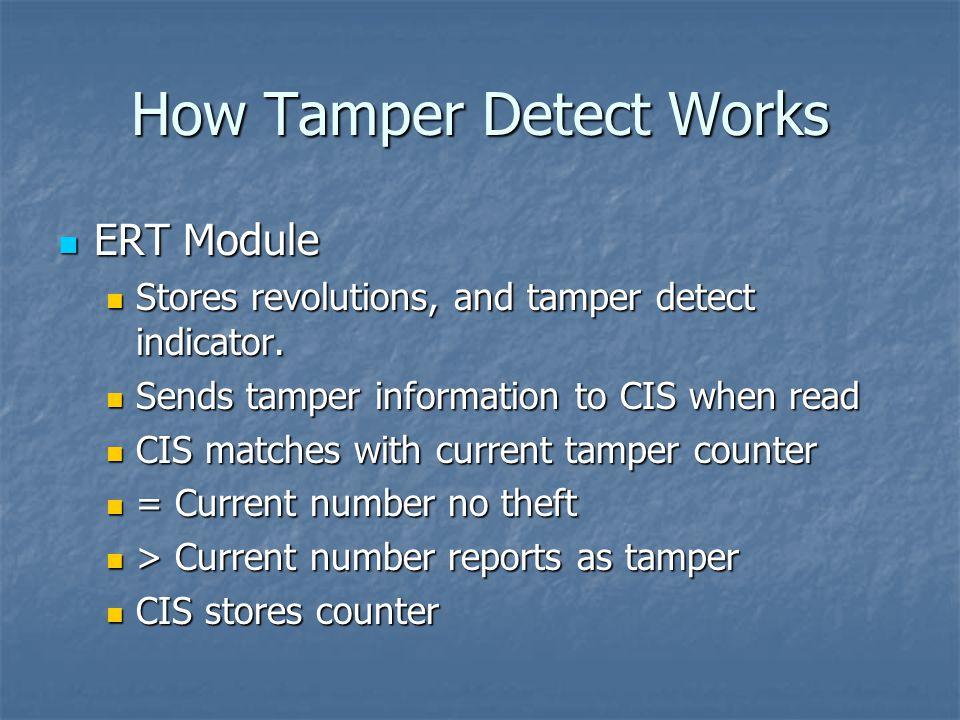 How Tamper Detect Works ERT Module ERT Module Stores revolutions, and tamper detect indicator.