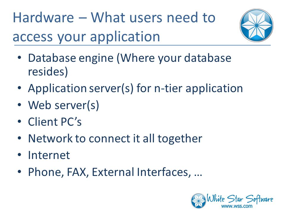 Hardware – What users need to access your application Database engine (Where your database resides) Application server(s) for n-tier application Web server(s) Client PC's Network to connect it all together Internet Phone, FAX, External Interfaces, …