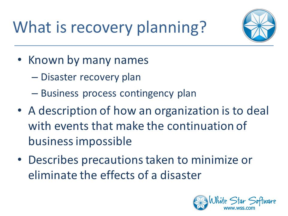 What is recovery planning.