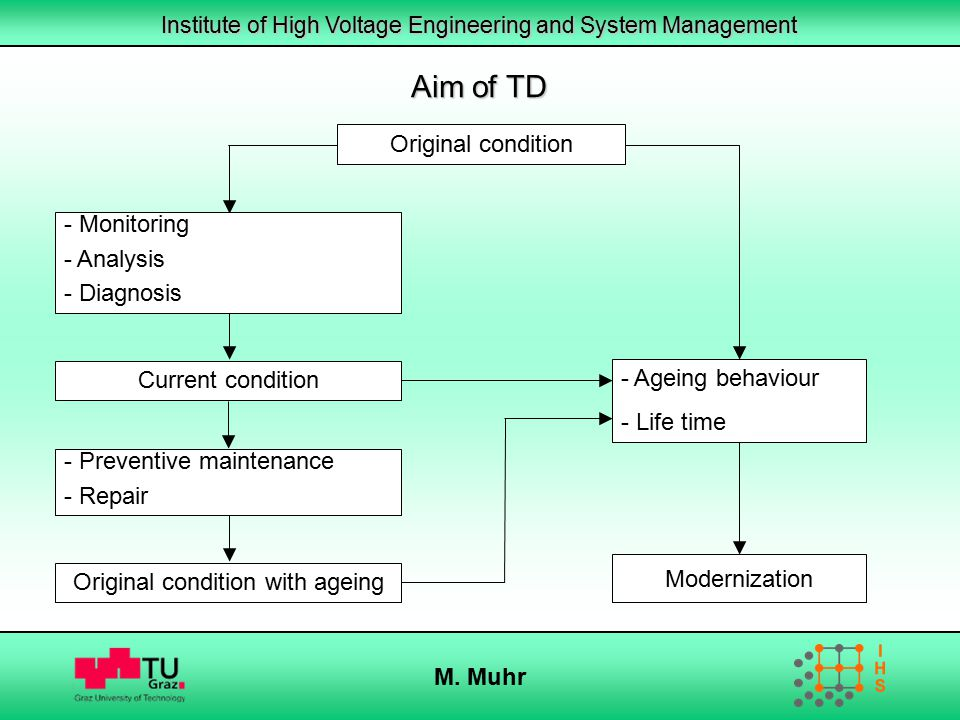 Institute of High Voltage Engineering and System Management M. Muhr Aim of TD Current condition Modernization Original condition - Monitoring - Analys