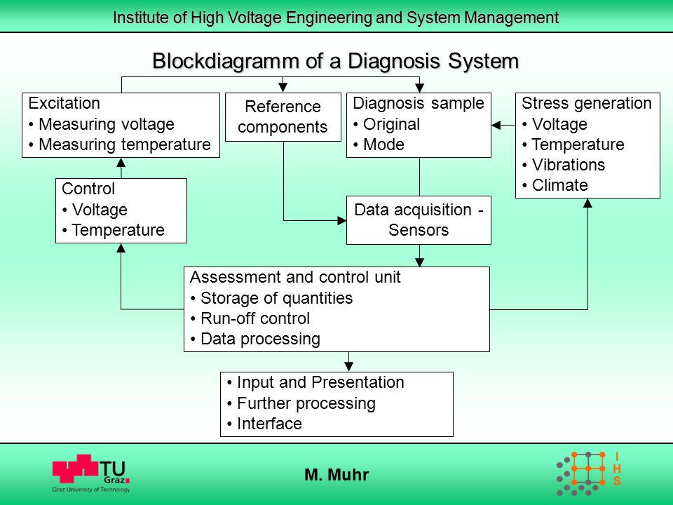 Institute of High Voltage Engineering and System Management M. Muhr Blockdiagramm of a Diagnosis System Reference components Excitation Measuring volt