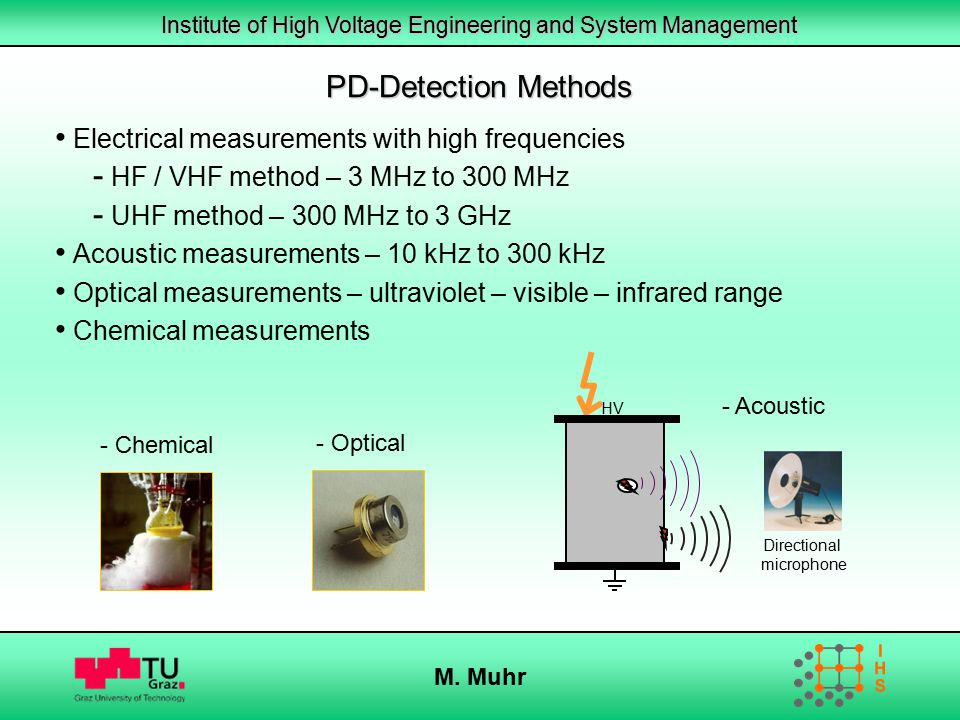 Institute of High Voltage Engineering and System Management M. Muhr PD-Detection Methods Electrical measurements with high frequencies - HF / VHF meth
