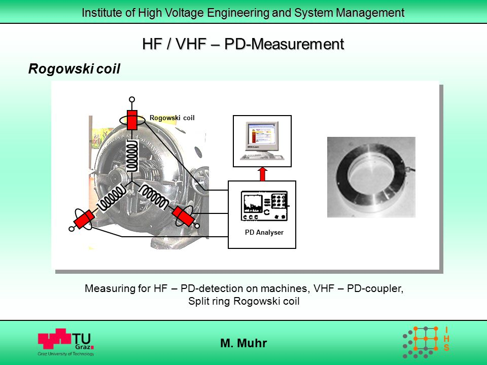 Institute of High Voltage Engineering and System Management M. Muhr Rogowski coil PD Analyser Measuring for HF – PD-detection on machines, VHF – PD-co