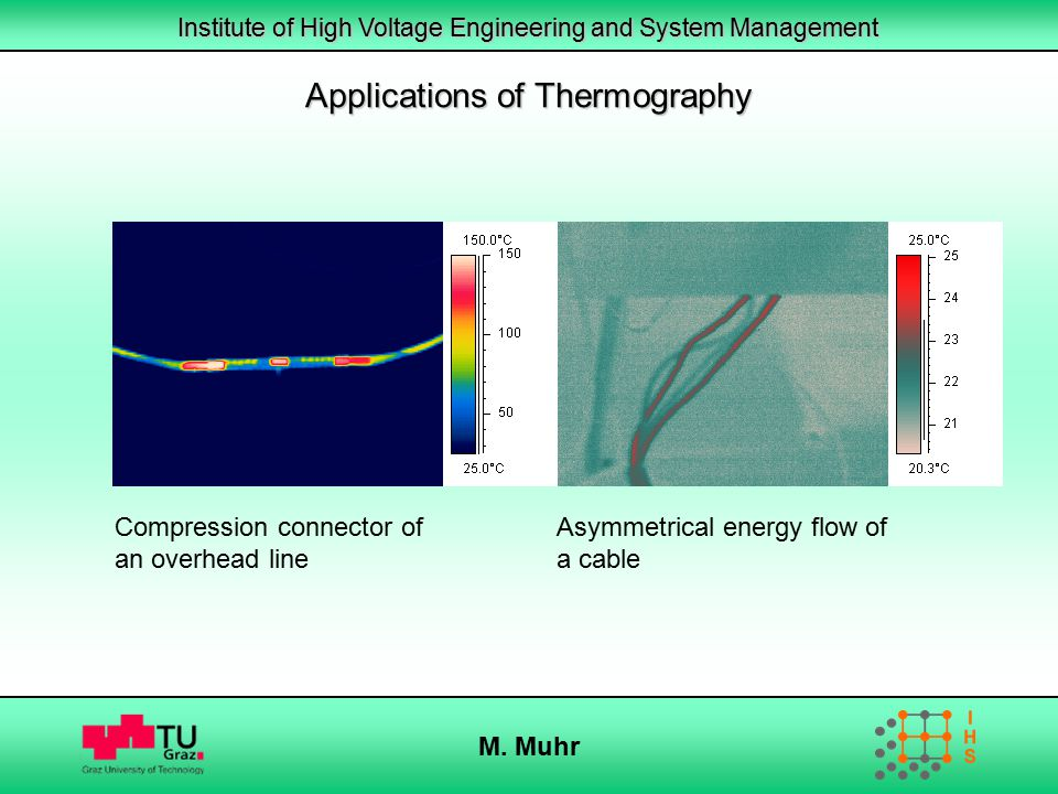 Institute of High Voltage Engineering and System Management M. Muhr Applications of Thermography Compression connector of an overhead line Asymmetrica