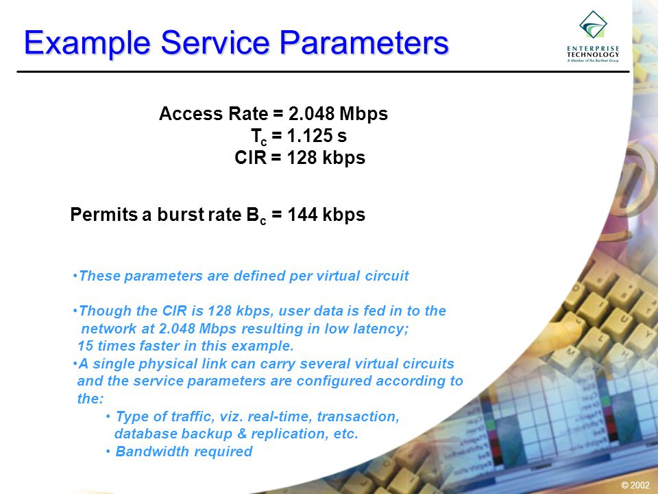 © 2002 Example Service Parameters Access Rate = 2.048 Mbps T c = 1.125 s CIR = 128 kbps Permits a burst rate B c = 144 kbps These parameters are defin