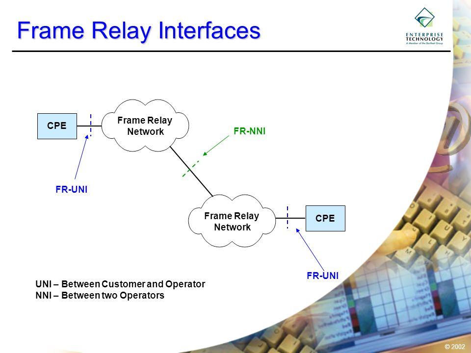 © 2002 Frame Relay Frame Structure FlagHeaderI fieldFCSFlag 1 byte 2 bytesVariable byte2 bytes1 byte DLCI 8 7 6 5 4 3 2 1 DLCI FECN BECN DE EA C/R LAPF Frame C/RCommand /Response EAAddress Extension FECNForward Explicit Congestion Notification BECNBackward Explicit Congestion Notification DEDiscard Eligible Frame Relay supports 2, 3 or 4 byte headers resulting in more DLCI's per FR-UNI.