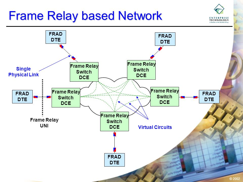 © 2002 A Shared Network Frame Relay Switch DCE Frame Relay Switch DCE Frame Relay Switch DCE Frame Relay Switch DCE Frame Relay Switch DCE Network Trunk Link Access Link