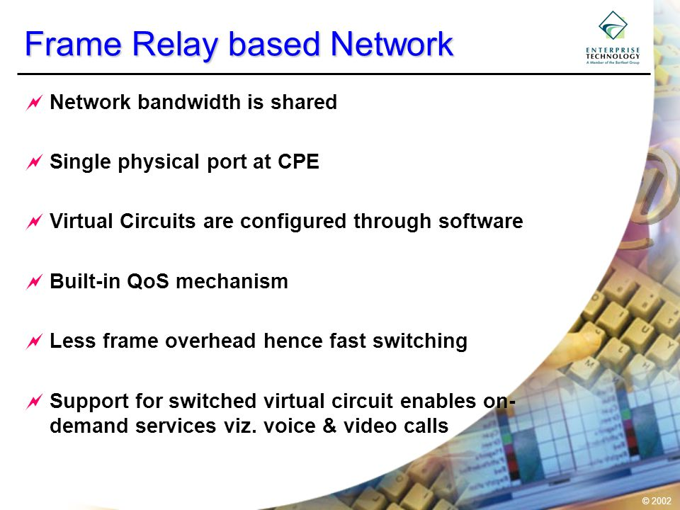 © 2002 Frame Relay based Network  Network bandwidth is shared  Single physical port at CPE  Virtual Circuits are configured through software  Built-in QoS mechanism  Less frame overhead hence fast switching  Support for switched virtual circuit enables on- demand services viz.