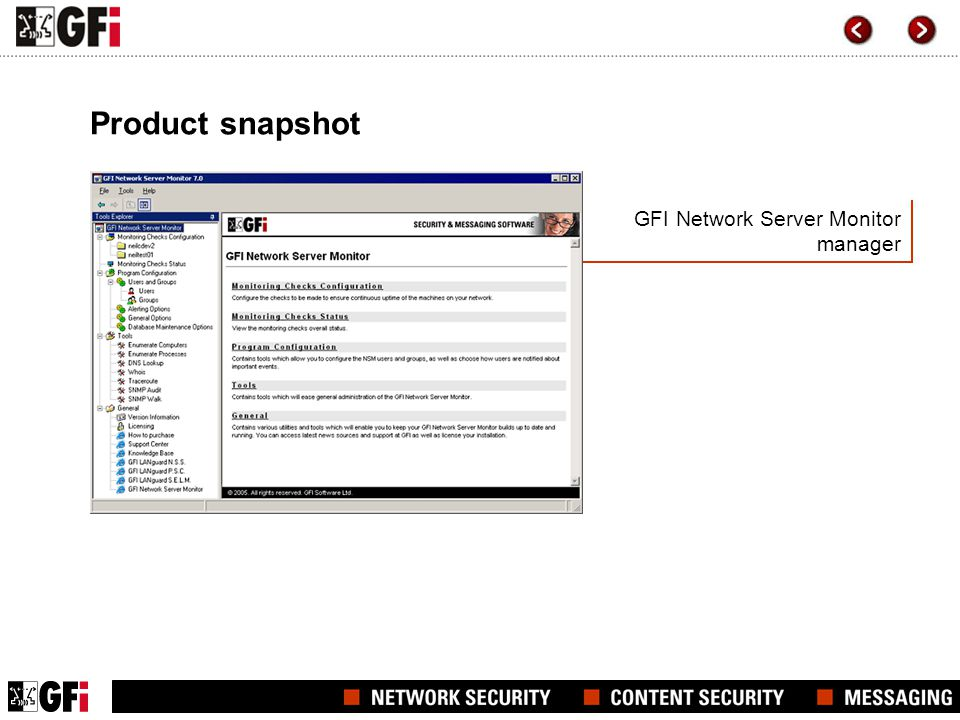 GFI Network Server Monitor manager Product snapshot