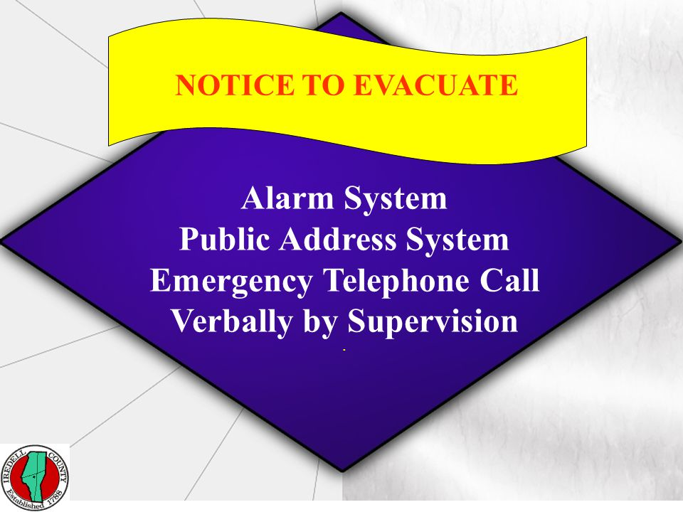 Report Emergency information to supervision IMMEDIATELY Report to the designated evacuation area that is correct for the type of emergency 16