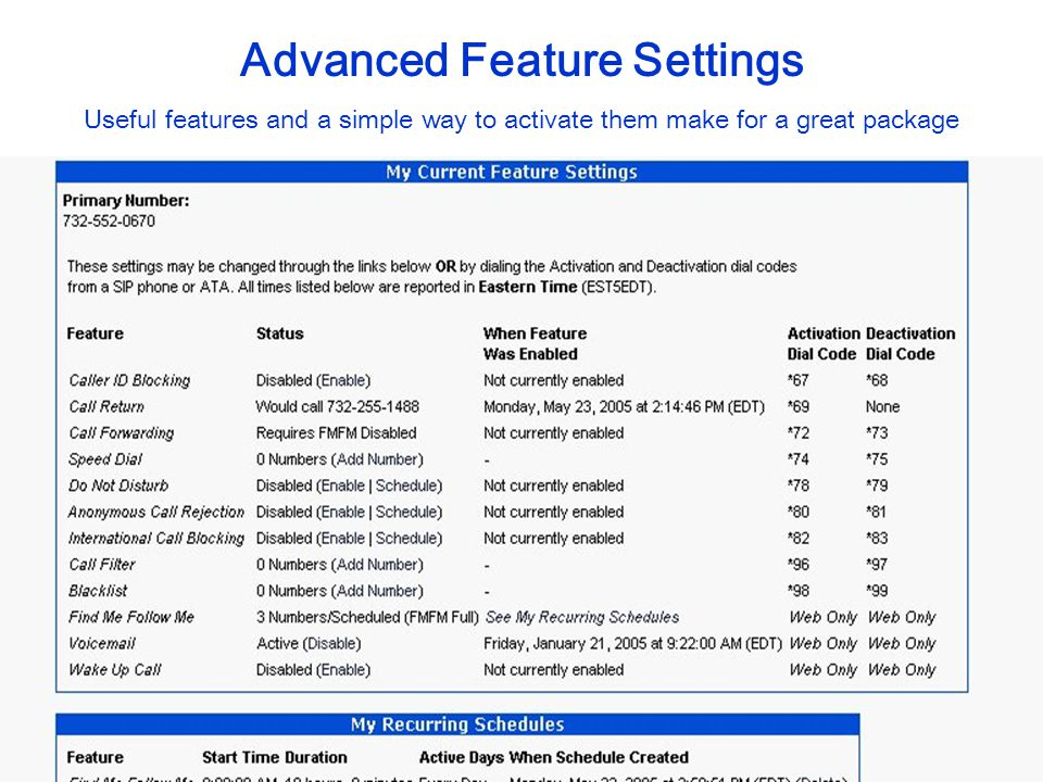 Advanced Feature Settings Useful features and a simple way to activate them make for a great package