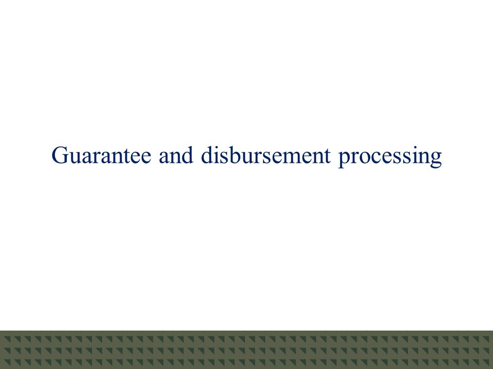 Guarantee Processing TG will be assisting customers by monitoring its guarantee processes: Beginning in mid-May, TG's guarantee, support, and reporting (GSR) team will run reports to identify currently guaranteed loans with a scheduled disbursement date on or after July 1, 2010.