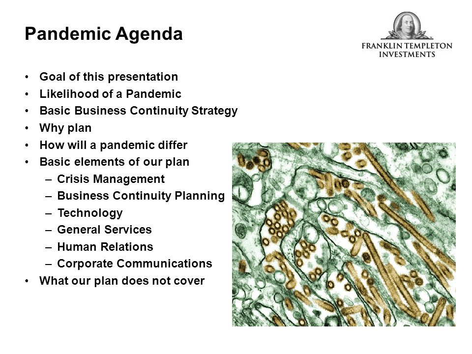 Pandemic Agenda Goal of this presentation Likelihood of a Pandemic Basic Business Continuity Strategy Why plan How will a pandemic differ Basic elemen