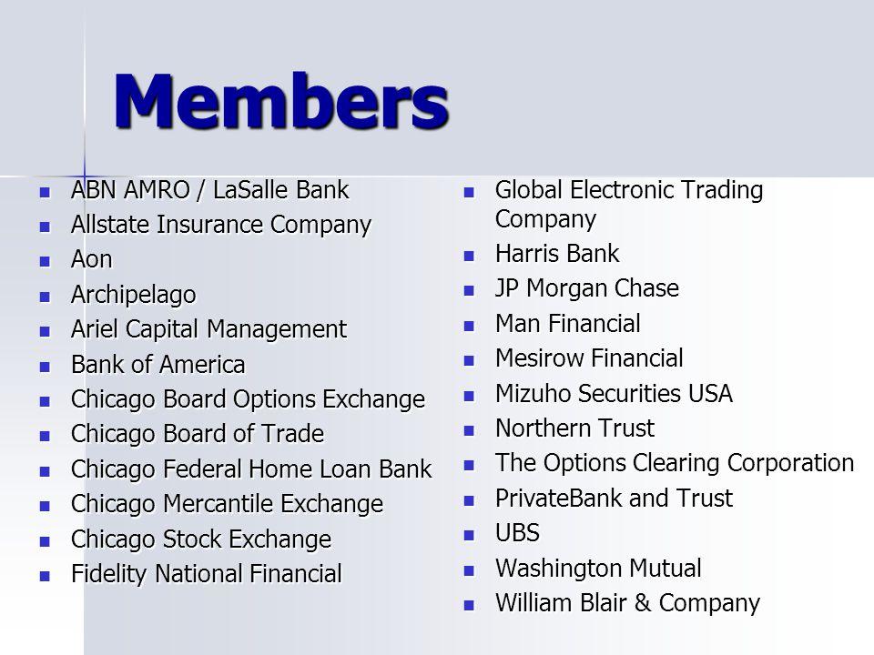Members ABN AMRO / LaSalle Bank ABN AMRO / LaSalle Bank Allstate Insurance Company Allstate Insurance Company Aon Aon Archipelago Archipelago Ariel Ca