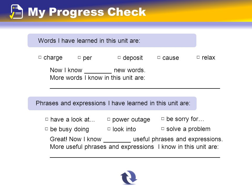 My Progress Check Words I have learned in this unit are: Now I know ________ new words.