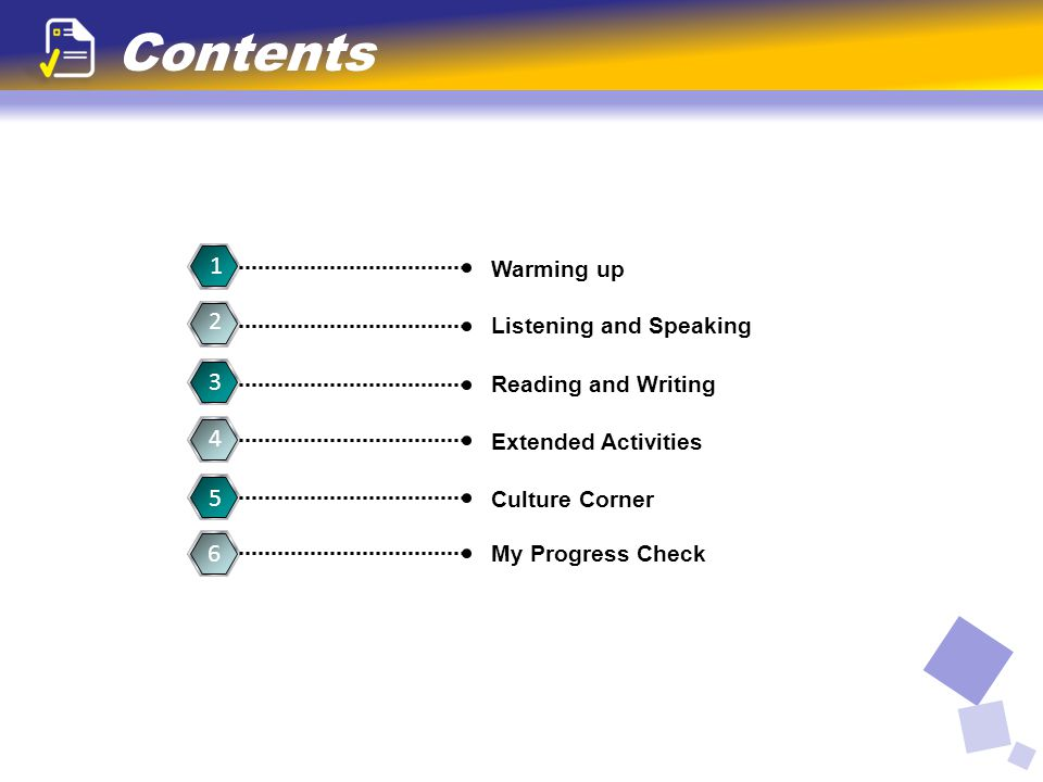 Contents 1 Warming up 3 Reading and Writing 5 Culture Corner 6 My Progress Check 4 Extended Activities 2 Listening and Speaking