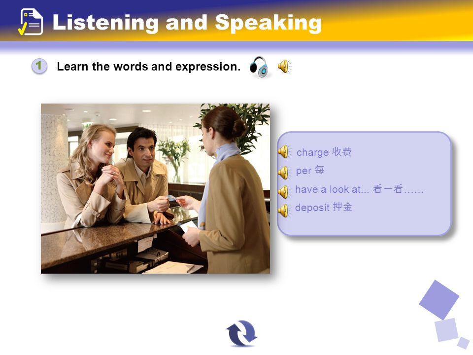 Learn the words and expression. Listening and Speaking charge 收费 per 每 have a look at...