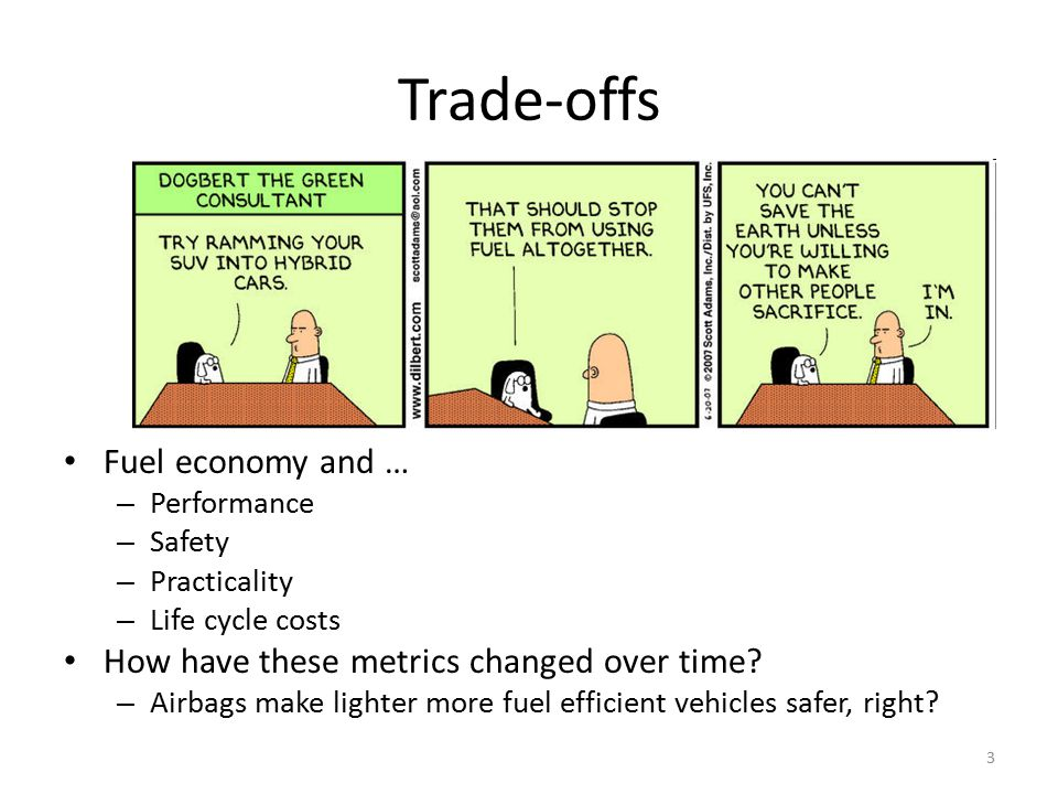 Trade-offs Fuel economy and … – Performance – Safety – Practicality – Life cycle costs How have these metrics changed over time? – Airbags make lighte