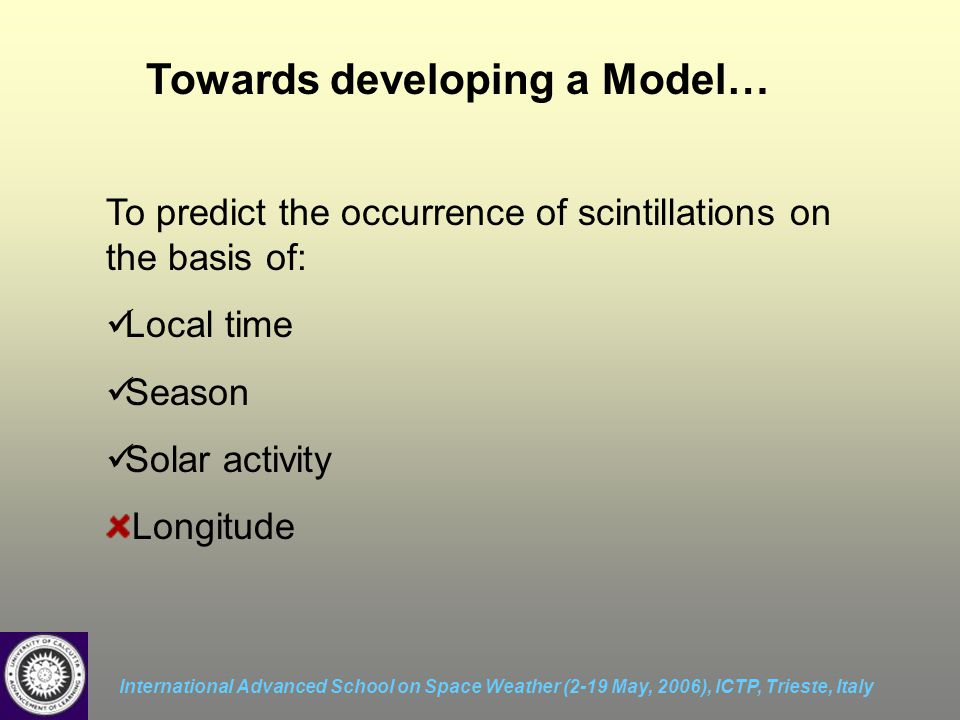 International Advanced School on Space Weather (2-19 May, 2006), ICTP, Trieste, Italy Towards developing a Model… To predict the occurrence of scintillations on the basis of: Local time Season Solar activity Longitude