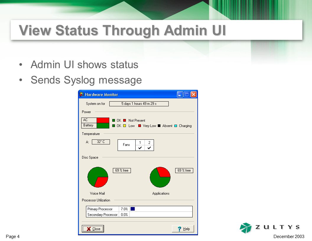 December 2003 Page 4 View Status Through Admin UI Admin UI shows status Sends Syslog message