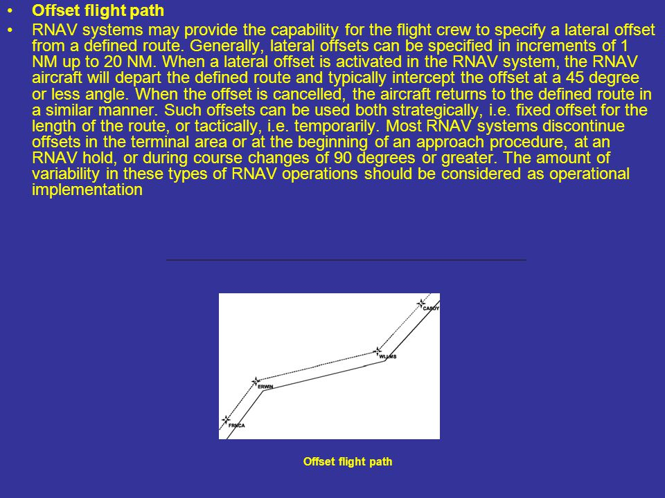Offset flight path RNAV systems may provide the capability for the flight crew to specify a lateral offset from a defined route. Generally, lateral of