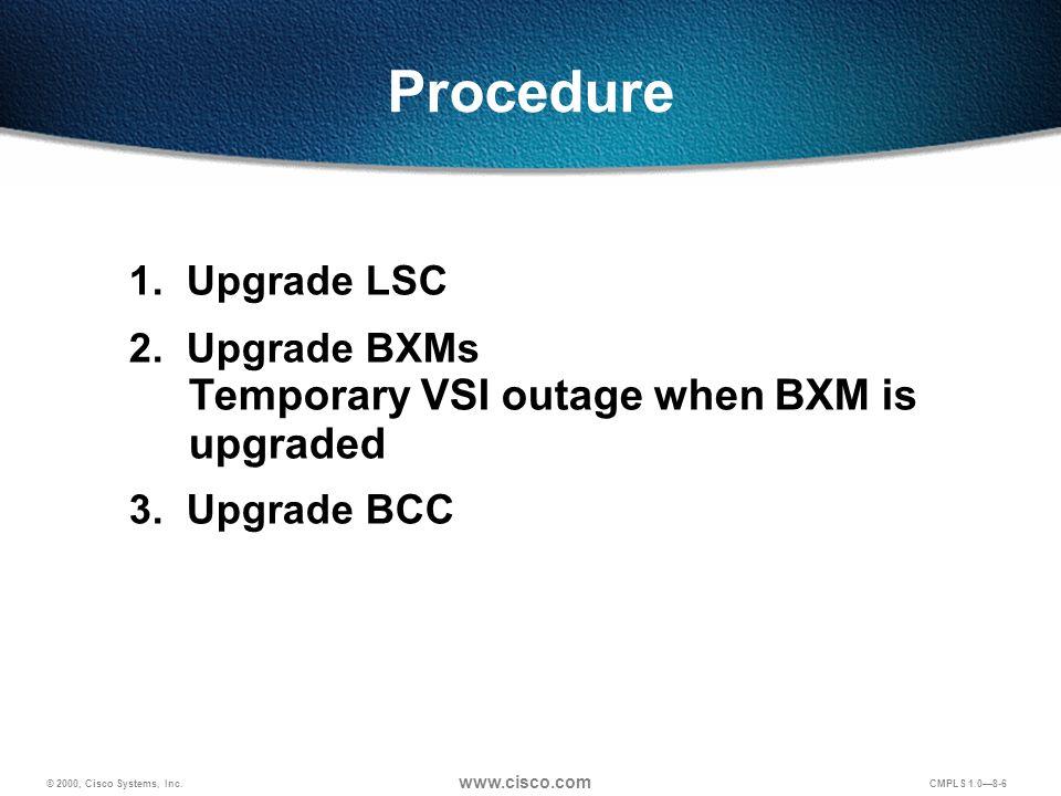 © 2000, Cisco Systems, Inc.www.cisco.com CMPLS 1.0—8-27 Configuration for LSC2 ip cef .