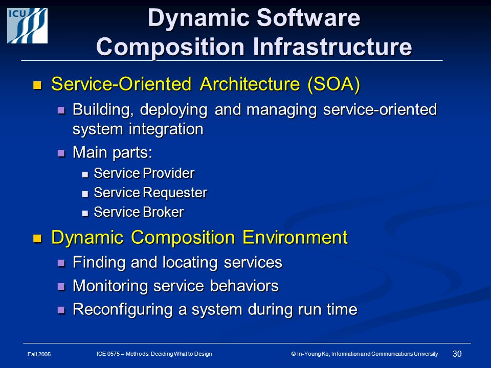 Fall 2005 30 ICE 0575 – Methods: Deciding What to Design © In-Young Ko, Information and Communications University Dynamic Software Composition Infrastructure Service-Oriented Architecture (SOA) Service-Oriented Architecture (SOA) Building, deploying and managing service-oriented system integration Building, deploying and managing service-oriented system integration Main parts: Main parts: Service Provider Service Provider Service Requester Service Requester Service Broker Service Broker Dynamic Composition Environment Dynamic Composition Environment Finding and locating services Finding and locating services Monitoring service behaviors Monitoring service behaviors Reconfiguring a system during run time Reconfiguring a system during run time