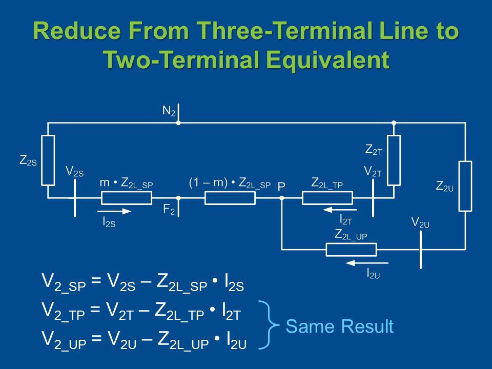 Reduce From Three-Terminal Line to Two-Terminal Equivalent V 2_SP = V 2S – Z 2L_SP I 2S V 2_TP = V 2T – Z 2L_TP I 2T V 2_UP = V 2U – Z 2L_UP I 2U Same Result